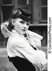 Black and white retro portrait