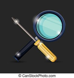 black background of colorful pair crossed magnifying glass and screwdriver