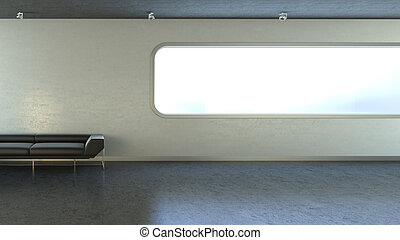 hitech interior with copyspaces on wall and window series
