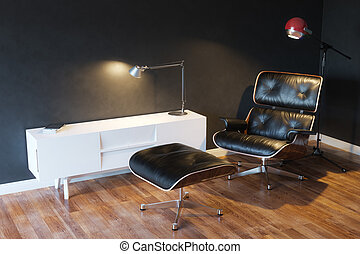 Black Cozy Leather Armchair
