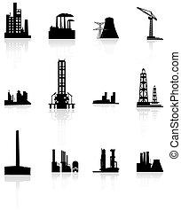 Black factory icons set.