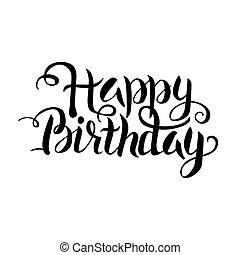 Black Happy Birthday Lettering over White