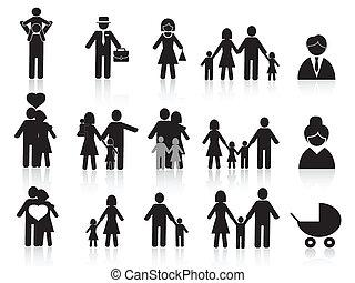 black happy family icons set