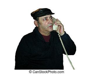 Black hat phone looking up
