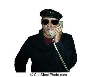 Black hat shades on phone