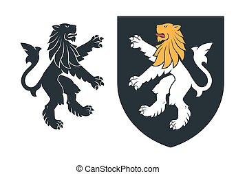 Black heraldic rampant lion 03