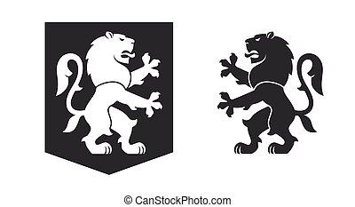 Black heraldic rampant lion
