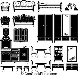 Black icons of furniture