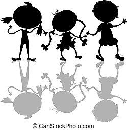 Black kids silhouettes