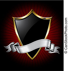 Black shield with a golden frame and a silver ribbon for text