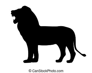 Black silhouette growling lion