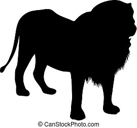 black silhouette of standing lion on white background of vector illustration