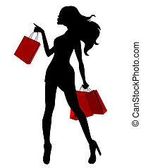 Black silhouette of young woman and red bags