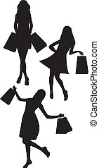 black silhouettes woman shopping isolated over white background. vector
