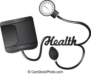 black sphygmomanometer with health text isolated vector illustration
