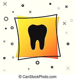 Black Tooth icon isolated on white background. Tooth symbol for dentistry clinic or dentist medical center and toothpaste package. Yellow square button. Vector Illustration