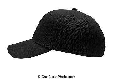 blank baseball cap closeup of side view