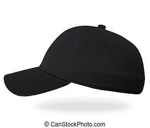 Blank black and white baseball cap mockup set, profile side view.