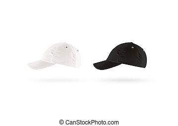 Blank black and white baseball cap mockup set, profile side view