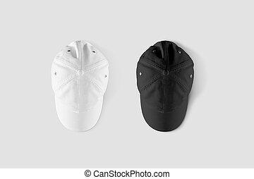 Blank black and white baseball cap mockup set, top side view