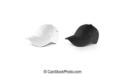 Blank black and white lying baseball cap mockup set, side view