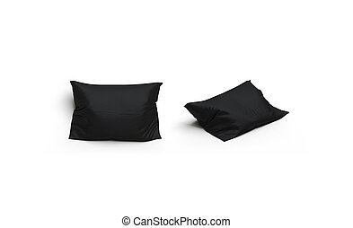 Blank black pillow mockup set, front and side view, isolated