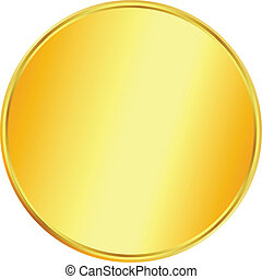 Blank gold coin on white background