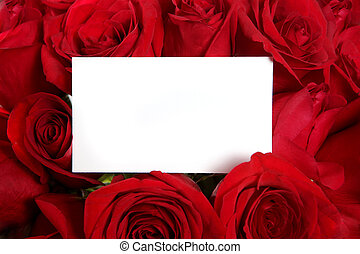 Blank Message Card Surrounded by Red Roses Perfect for Valentine's Day or an Anniversary