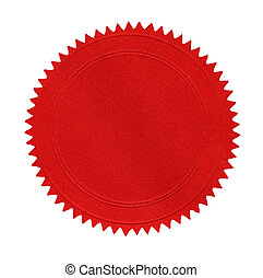 Blank red seal, isolated on white.