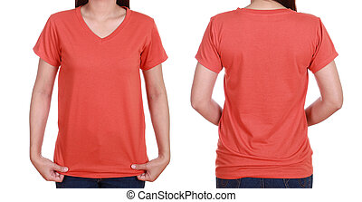 blank t-shiet set (front, back) with female isolate on white background