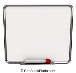 A white dry erase board with red marker, with plenty of blank copy space for your message