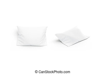 Blank white pillow mockup set, front and side view, isolated
