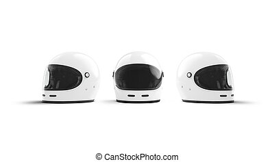 Blank white protect helmet mockup, front and side view