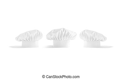 Blank white toque chef hat mockup, front and side view