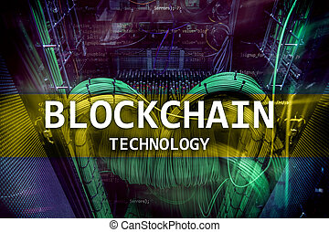 Blockchain technology, cryptocurrency mining. Server room data
