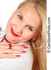 blond woman face with nails