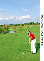 blonde girl golf player