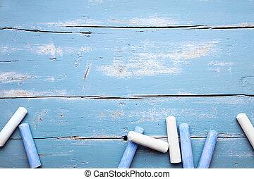 Blue and white Crayon, concept preschool and kindergarten