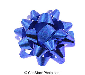 blue bow on pure whi