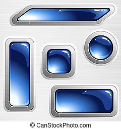 Blue brushed steel banners and buttons