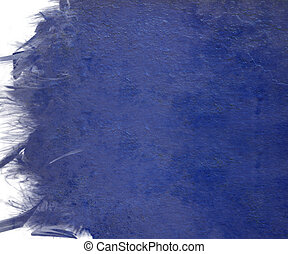 Blue cloudy paint with grunge feather edge isolated