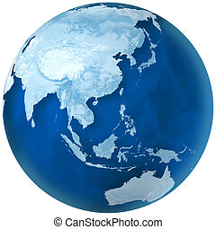 3D rendering of blue earth with detailed land illustration. Asia and Australia view.