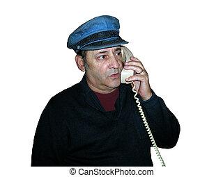 Blue hat on phone