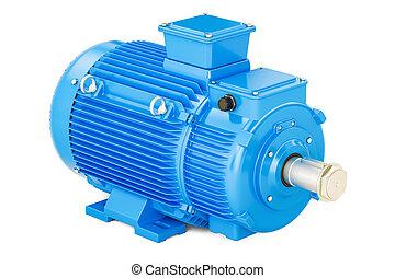 Blue industrial electric motor, 3D rendering
