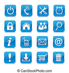 blue internet icon collection