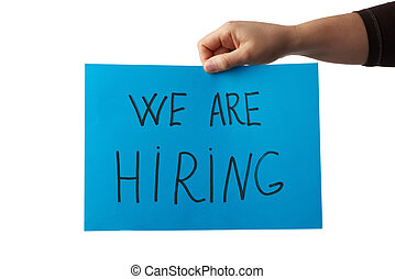 blue piece of paper with the inscription we are hiring