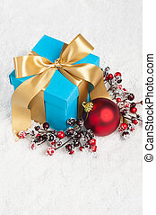 Blue present with gold ribbon