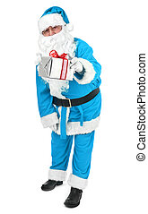 Blue Santa claus gives a present