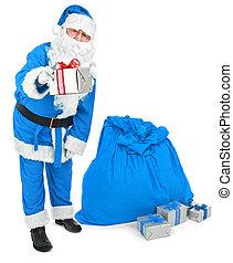 Blue Santa gives a present