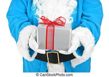 blue santa holding present
